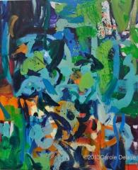 carole delaye, peinture abstraite, composition verte, avril 2013