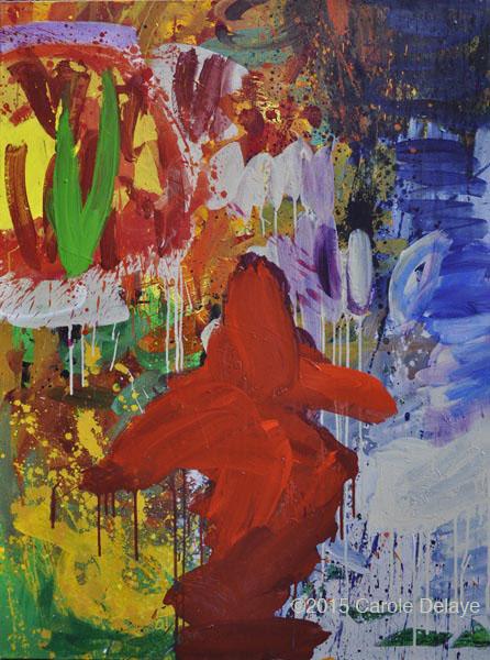 carole delaye, peinture abstraite, la vierge au lapin, juillet 2015