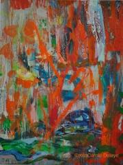 carole delaye, peinture abstraite, pluie orange, novembre 2013