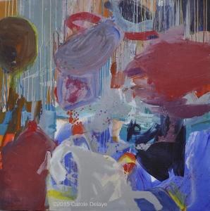 carole delaye, peinture abstraite, poisson rouge dans un aquarium, mai 2015