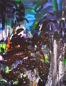 carole delaye, peinture abstraite, métamorphose au jardin, 2016