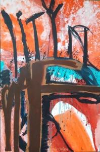 carole delaye, peinture abstraite, stop à la déforestation, 2016