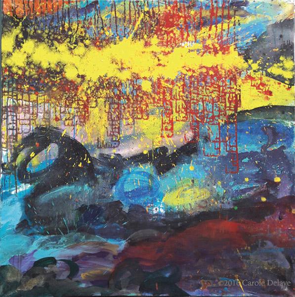 carole delaye, peinture abstraite, le monde selon l'homme, 2016