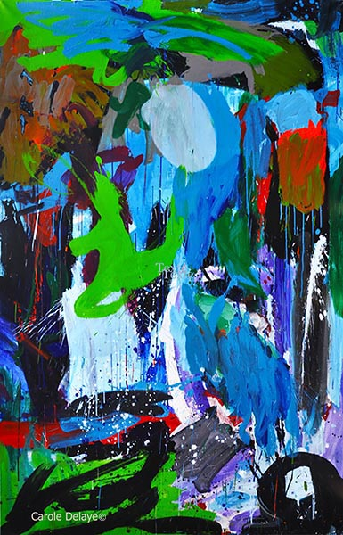 carole delaye, peinture abstraite, lili up triptyque centre, 2017
