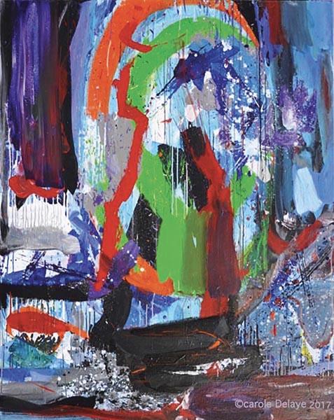 carole delaye, peinture abstraite, lili up triptyque droite, 2017