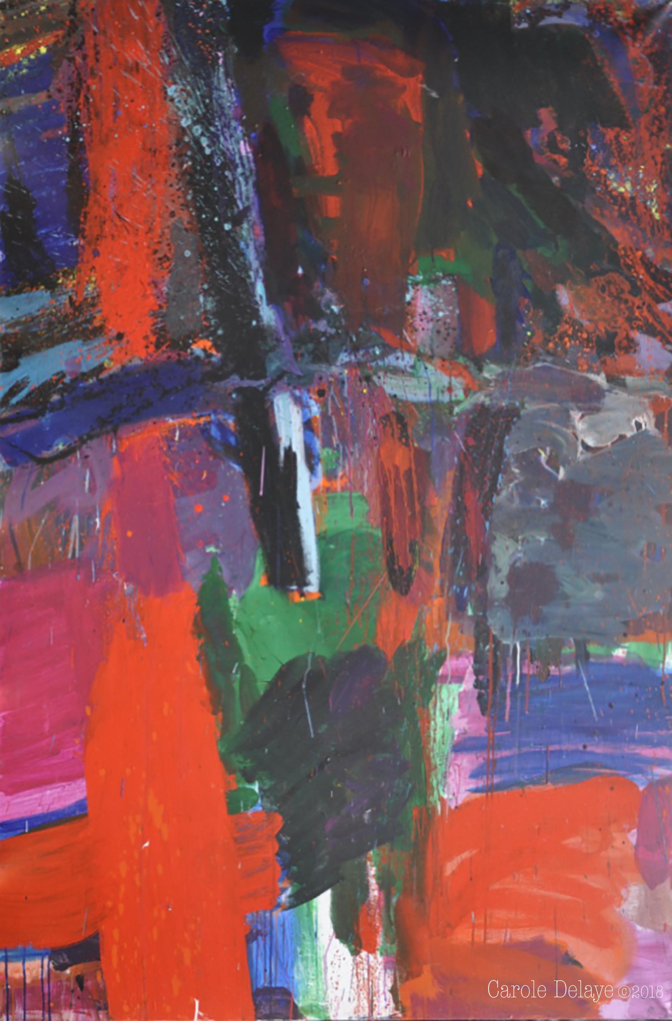 carole delaye, peinture abstraite, stèle, 2017